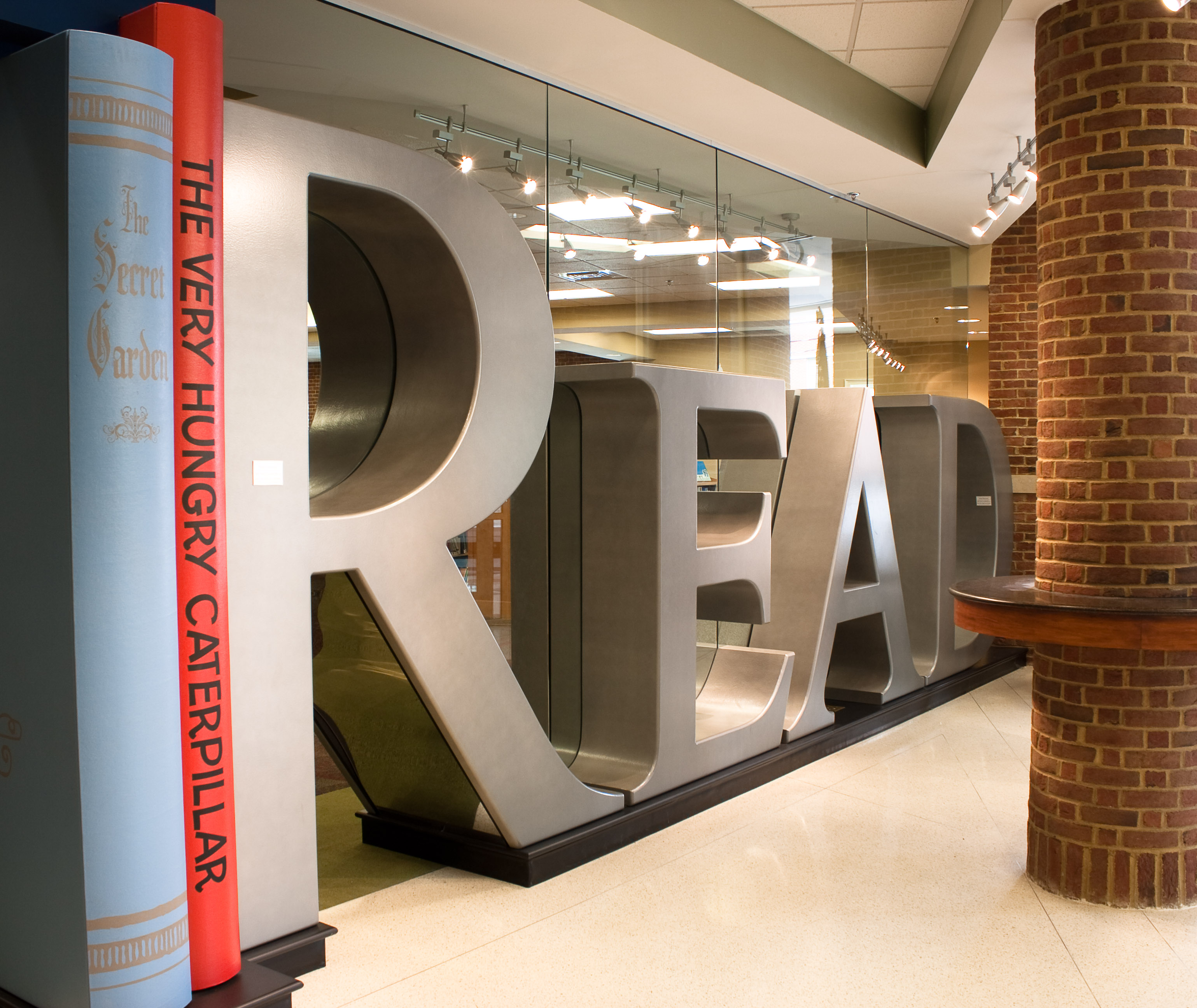READ letters in library lobby